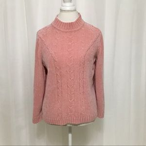 Alfred Dunner Women's Chenille Sweater Pink